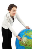 Woman Standing And Pointing At Africa On Globe Royalty Free Stock Photo