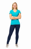 Woman Standing Arms Crossed Over White Background Royalty Free Stock Photo