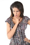 Woman standing in astonishment Stock Images