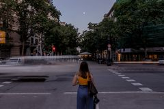 Woman standing on Barcelona street stock photos