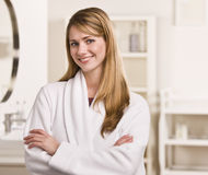 Woman Standing in Bathroom Royalty Free Stock Photo