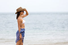 Woman standing beach Royalty Free Stock Photo