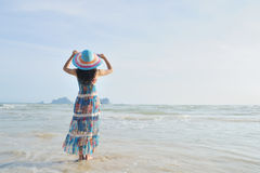 Woman standing on the beach in Krabi Thailand Royalty Free Stock Images