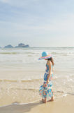 Woman standing on the beach in Krabi Thailand Royalty Free Stock Image