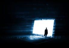 Woman standing on big laptop Stock Image