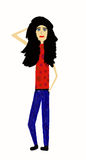 Woman. Standing black hair woman dressed in blue and red vector illustration