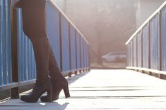 Woman Standing on Bridge Royalty Free Stock Image