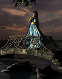 Woman standing on bridge. 3D rendered image of a beautiful woman standing on a bridge Stock Photography