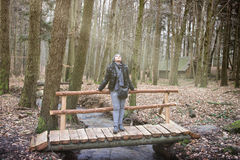 Woman Standing  Bridge Stock Images