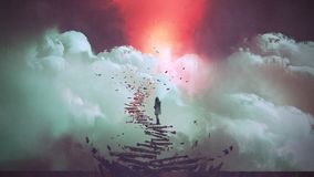 Woman standing on broken stairs. Young woman standing on broken stairs leading up to sky, digital art style, illustration painting royalty free illustration
