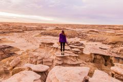 Woman Standing on Canyon Stock Photo