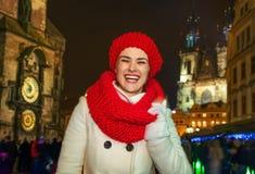 Woman standing at Christmas on Staromestske namesti in Prague Stock Photography