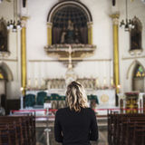Woman Standing Church Religion Concept Stock Images