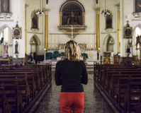Woman Standing Church Religion Concept Stock Image