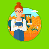 Woman standing with combine on background. A hipster man with the beard standing in wheat field and a combine working on a background. Vector flat design Royalty Free Stock Images