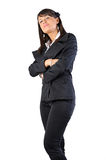 Woman standing crossed hands. Woman with attitude of defiance Stock Images