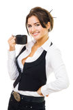 Woman standing with cup of coffee, smile and look Royalty Free Stock Image