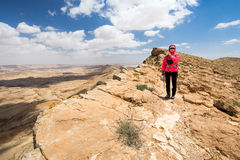 Woman standing desert mountain edge. Stock Images