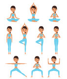 Woman standing in different yoga poses. Vector illustration. Stock Photography
