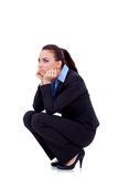 Woman standing down and thinking Royalty Free Stock Photography