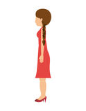 Woman standing dress left profiles hair tail Royalty Free Stock Photography