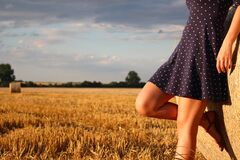 Woman Standing in a Field Royalty Free Stock Photos
