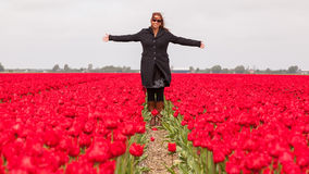 Woman standing in a field of tulips Stock Images
