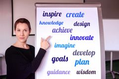 Woman standing at flipchart with buisiness oriented words on it royalty free stock image