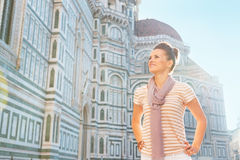 Woman standing in front of cattedrale in florence Royalty Free Stock Photo