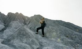 Woman Standing In Front of Mountain Royalty Free Stock Photos