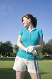Woman Standing on Golf Course - Vertical Stock Photos