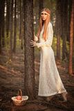 Woman standing on  ground in the forest Royalty Free Stock Photography