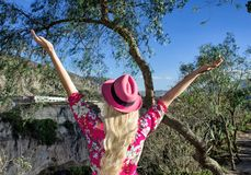 A woman is standing with her arms outstretched. In a pink hat. He looks at the mountains and ravine. stock photography