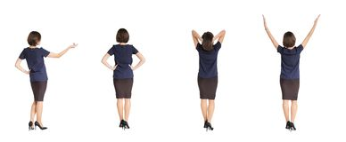 Woman standing with her back on white background Royalty Free Stock Photography