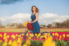 Woman standing with her bike in tulips fields Royalty Free Stock Images