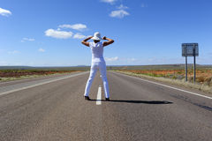 Woman Standing on Highway stock image