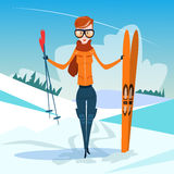 Woman Standing Hold Ski Winter Activity Sport Vacation Snow Mountain Slope Stock Photo