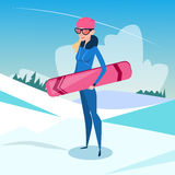Woman Standing Hold Snowboard Winter Activity Sport Vacation Snow Mountain Slope Royalty Free Stock Photos