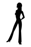Woman standing icon. Black silhouette flat design full body woman standing icon  illustration Royalty Free Stock Images
