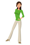 Woman standing icon. Flat design full body woman standing icon  illustration Royalty Free Stock Images