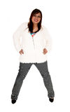 Woman standing in jacket. Royalty Free Stock Photography