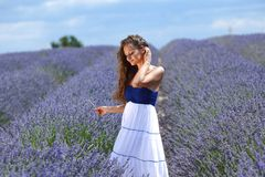 Woman standing on a lavender field Stock Image