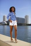 Woman standing on the ledge. Stock image of a happy woman standing on the ledge by the bay Stock Photography