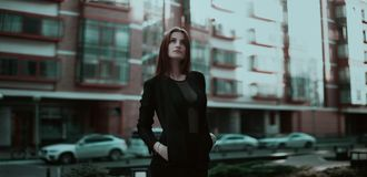 Woman Standing Looking Up Stock Images