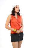 Woman standing with miniskirt. Chubby woman standing with miniskirt Royalty Free Stock Photography