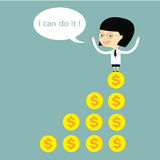 Woman standing on money graph success with bubble speech I can d Stock Image