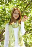 Woman standing near the apple tree. Royalty Free Stock Photography