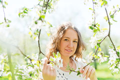 Woman standing near the apple tree on a Stock Image