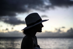 Woman Standing Near Beach With White Hat Royalty Free Stock Image