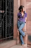 Woman standing near a column Royalty Free Stock Photos